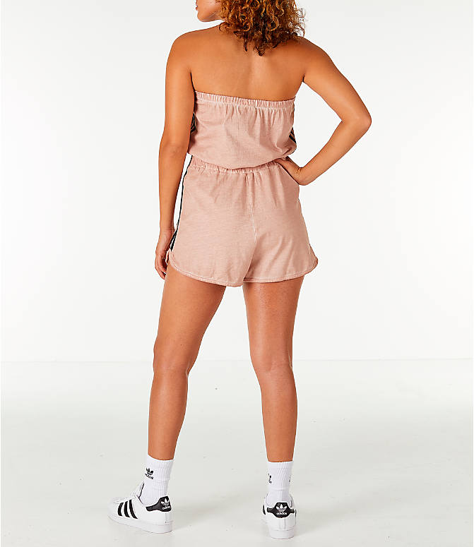 Front Three Quarter view of Women's adidas Originals Dye Injection Pack Strapless Romper in Dusty Pearl