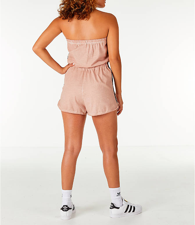 Back Left view of Women's adidas Originals Dye Injection Pack Strapless Romper in Dusty Pearl