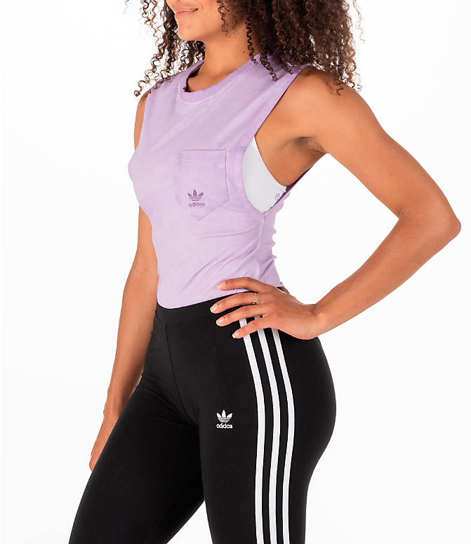 Front Three Quarter view of Women's adidas Originals Tie Dye Bodysuit in Purple Tie Dye