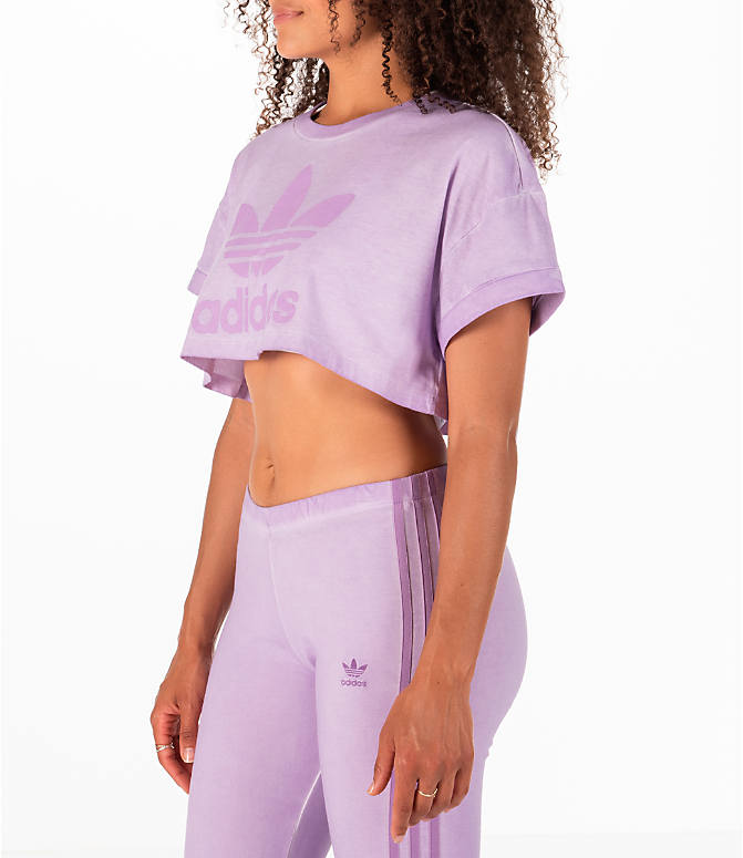 Front Three Quarter view of Women's adidas Originals Tie Dye Crop T-Shirt in Purple Tie Dye