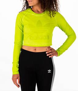 Women's adidas Originals Tie Dye Long-Sleeve Crop T-Shirt