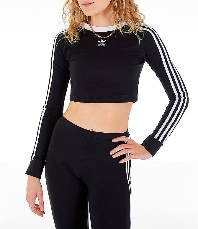 62011c28a Front view of Women's adidas Originals Cropped Long-Sleeve T-Shirt in Black
