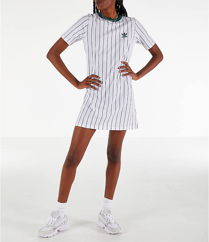 a23bc9fc34ea Front view of Women's adidas Originals Stripe T-Shirt Dress in White/Green