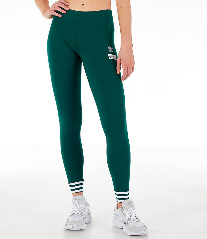 Front Three Quarter view of Women's adidas Originals Stripe Out Leggings in Green/White