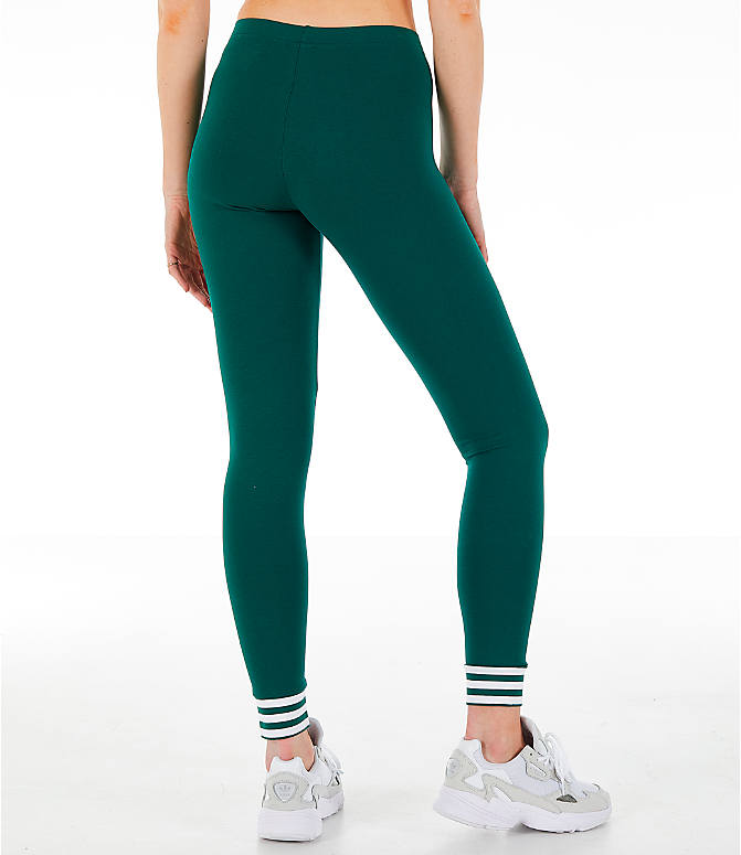 Back Right view of Women's adidas Originals Stripe Out Leggings in Green/White