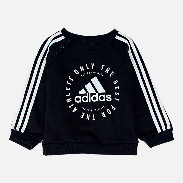 Front view of Infant and Toddler adidas Fleece Jogger Set in Black
