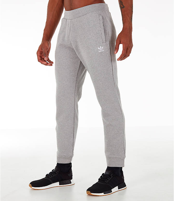Front Three Quarter view of Men's adidas Essentials OG Sweatpants in Medium Grey