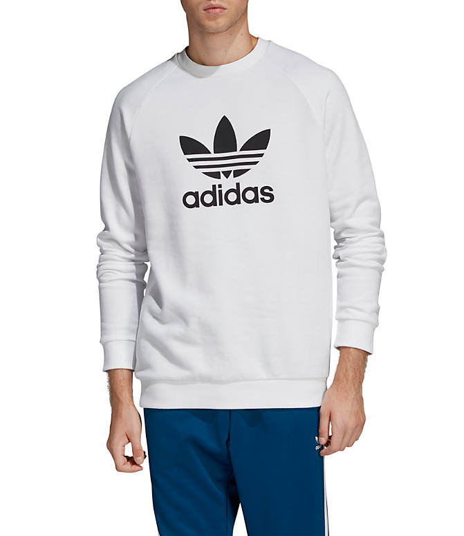 Front view of Men's adidas Originals Trefoil Crew Sweatshirt in White