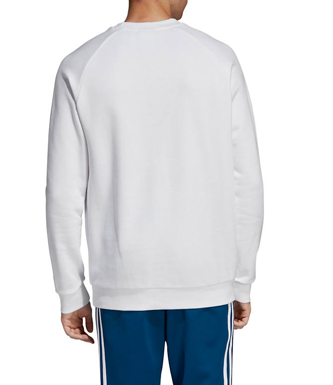 Front Three Quarter view of Men's adidas Originals Trefoil Crew Sweatshirt in White