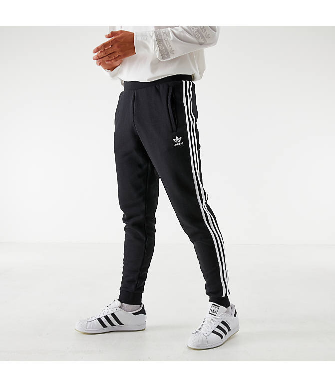 Front view of Men's adidas Originals 3-Stripe Pants in Black
