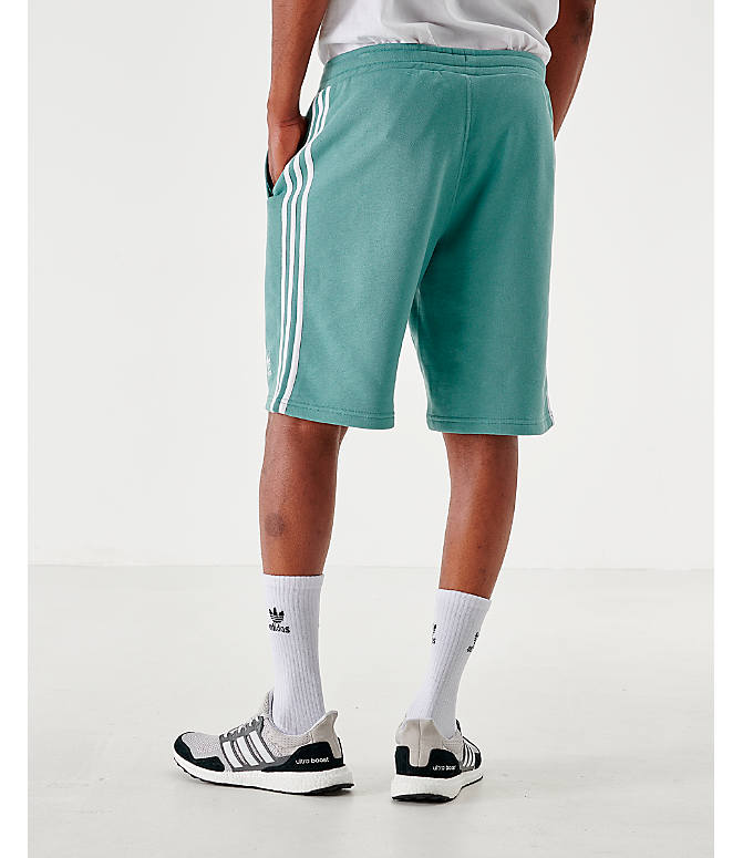 Back Left view of Men's adidas Originals 3-Stripes Shorts in Grey