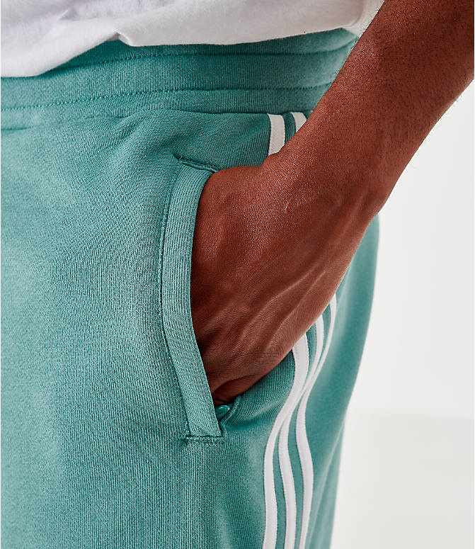 Back Right view of Men's adidas Originals 3-Stripes Shorts in Grey