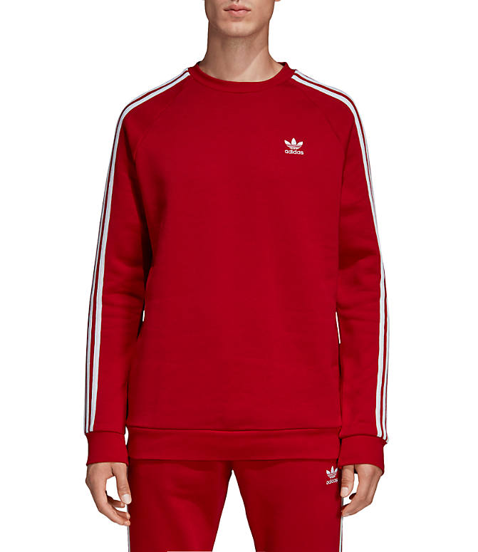 Front view of Men's adidas Originals 3-Stripes Crew Sweatshirt in Power Red