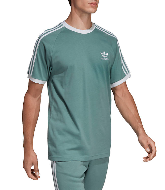 Front view of Men's adidas Originals 3-Stripes T-Shirt in Grey