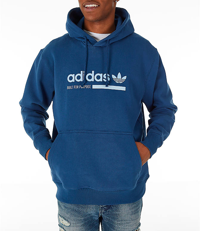Front view of Men's adidas Originals Kaval Graphic Hoodie in Night Marine