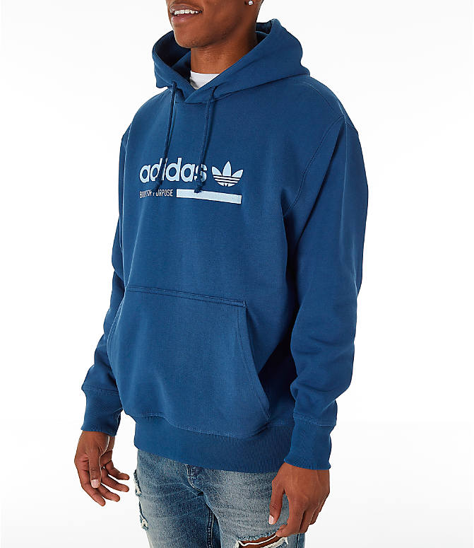 Front Three Quarter view of Men's adidas Originals Kaval Graphic Hoodie in Night Marine