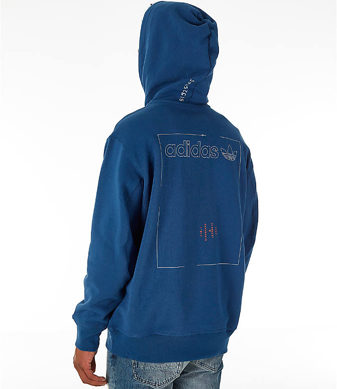 Back Left view of Men's adidas Originals Kaval Graphic Hoodie in Night Marine