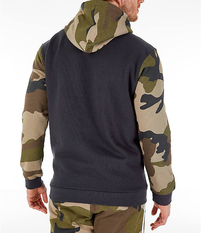 Back Right view of Men's adidas Originals Camo Trefoil Hoodie in Black/Camo