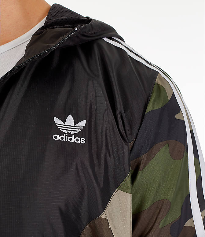 Detail 1 view of Men's adidas Originals Camouflage Windbreaker Jacket in Black/Camo