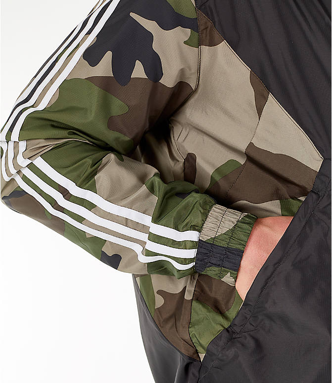 Detail 2 view of Men's adidas Originals Camouflage Windbreaker Jacket in Black/Camo