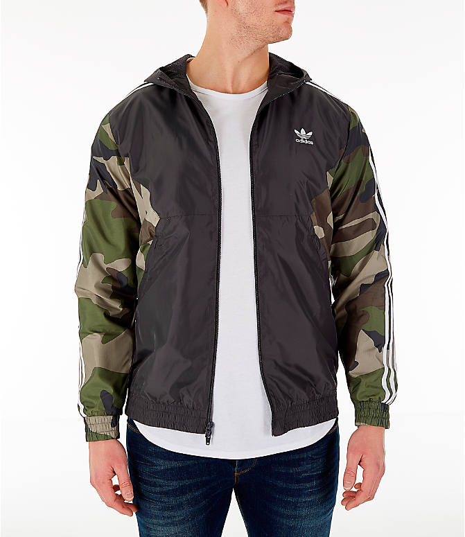 Front view of Men's adidas Originals Camouflage Windbreaker Jacket in Black/Camo