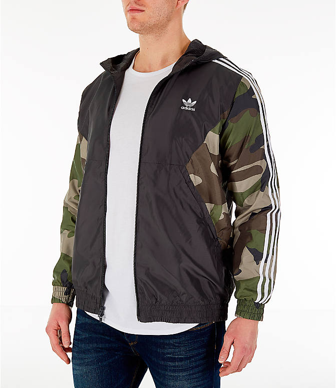 Front Three Quarter view of Men's adidas Originals Camouflage Windbreaker Jacket in Black/Camo