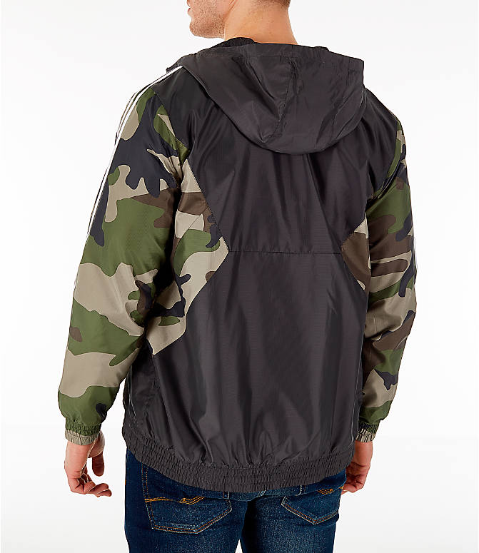Back Left view of Men's adidas Originals Camouflage Windbreaker Jacket in Black/Camo