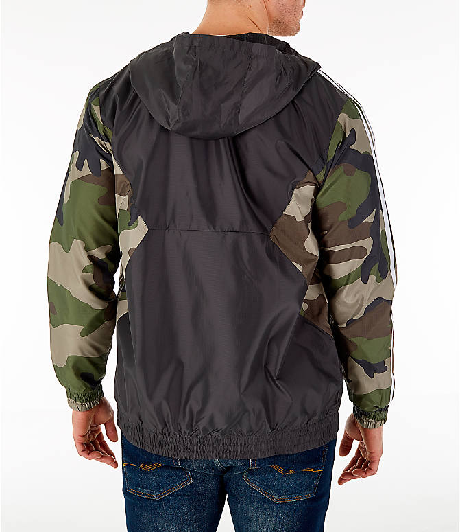 Back Right view of Men's adidas Originals Camouflage Windbreaker Jacket in Black/Camo