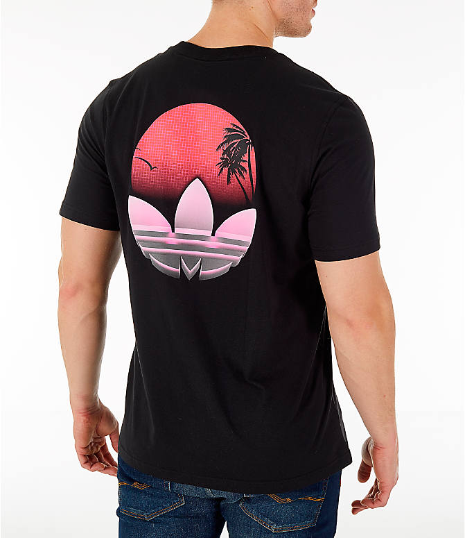 Back Right view of Men's adidas Originals 90's Tropical T-Shirt in Black