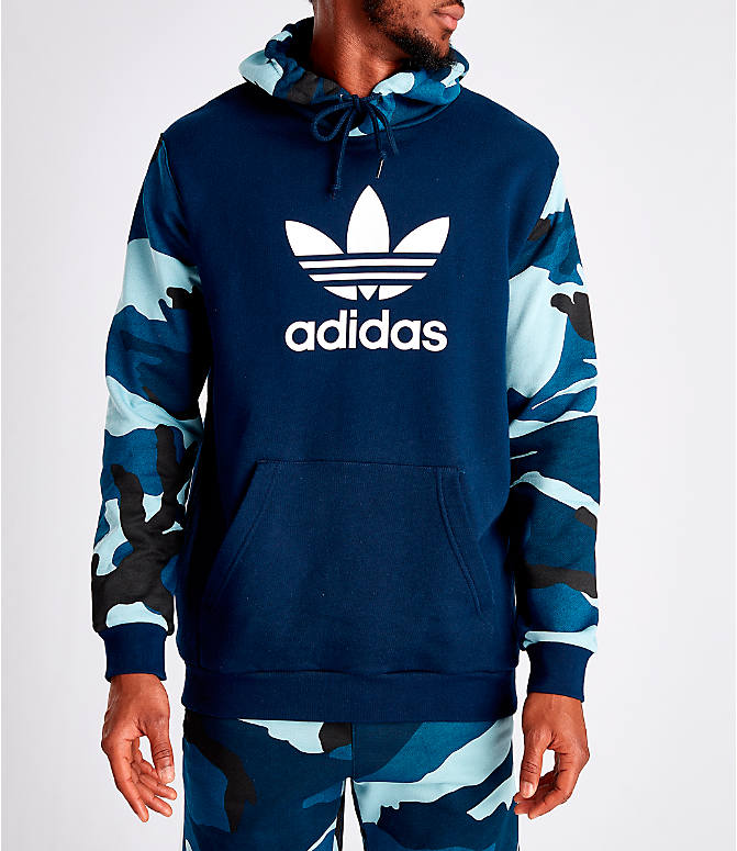 Front view of Men's adidas Originals Camouflage Hoodie in Blue Camo