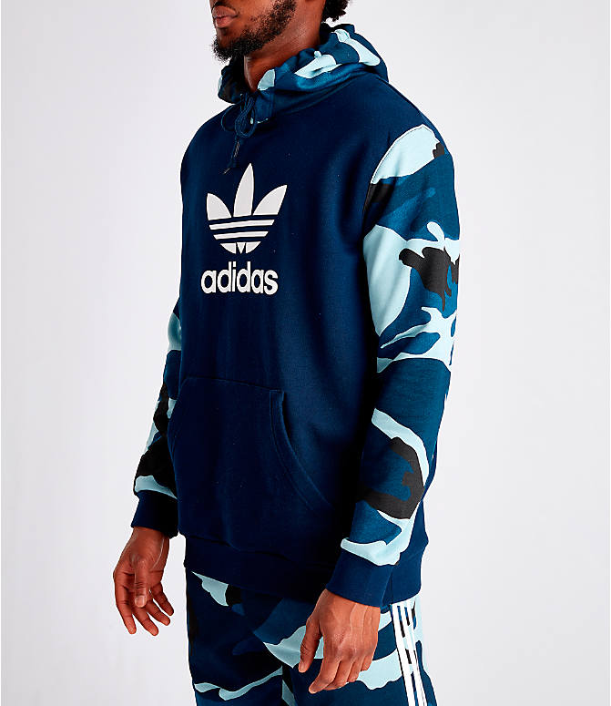Front Three Quarter view of Men's adidas Originals Camouflage Hoodie in Blue Camo