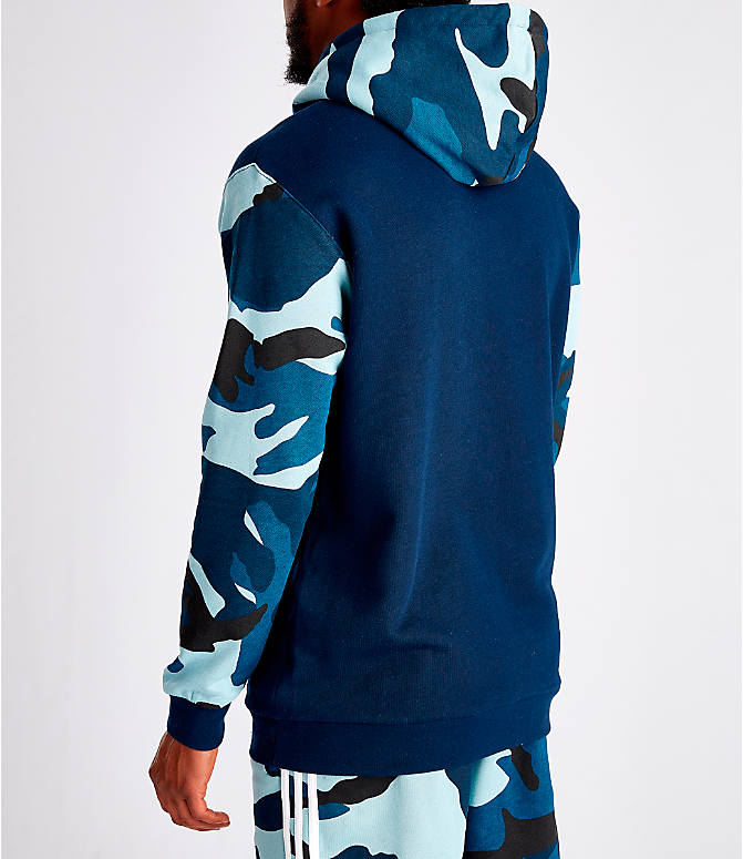 Back Left view of Men's adidas Originals Camouflage Hoodie in Blue Camo