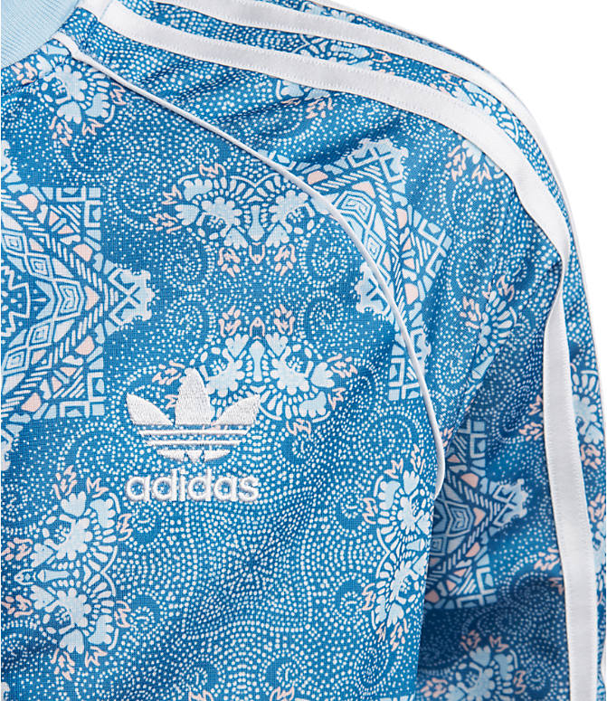 Detail 1 view of Little Girls' adidas Originals Culture Clash Crop Superstar Track Jacket in Multicolor/Clear Sky/White