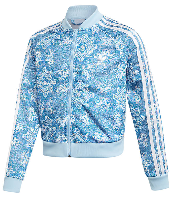 Front view of Little Girls' adidas Originals Culture Clash Crop Superstar Track Jacket in Multicolor/Clear Sky/White