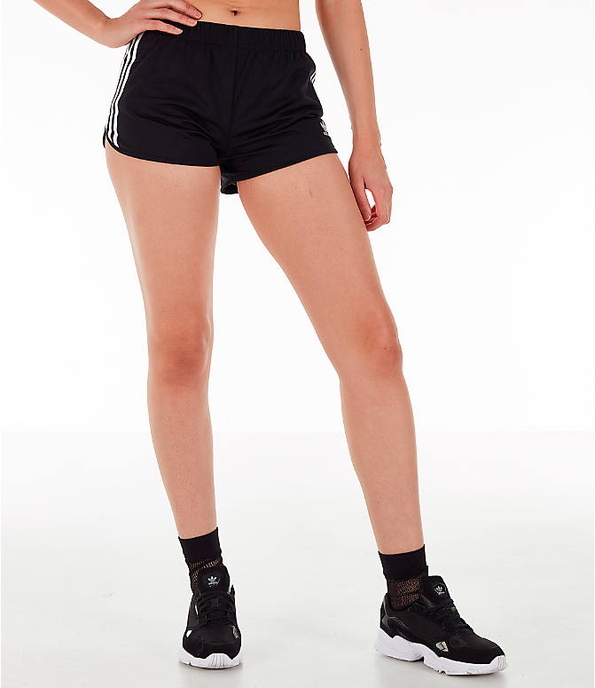 Front Three Quarter view of Women's adidas Originals 3-Stripes Shorts in Black/White