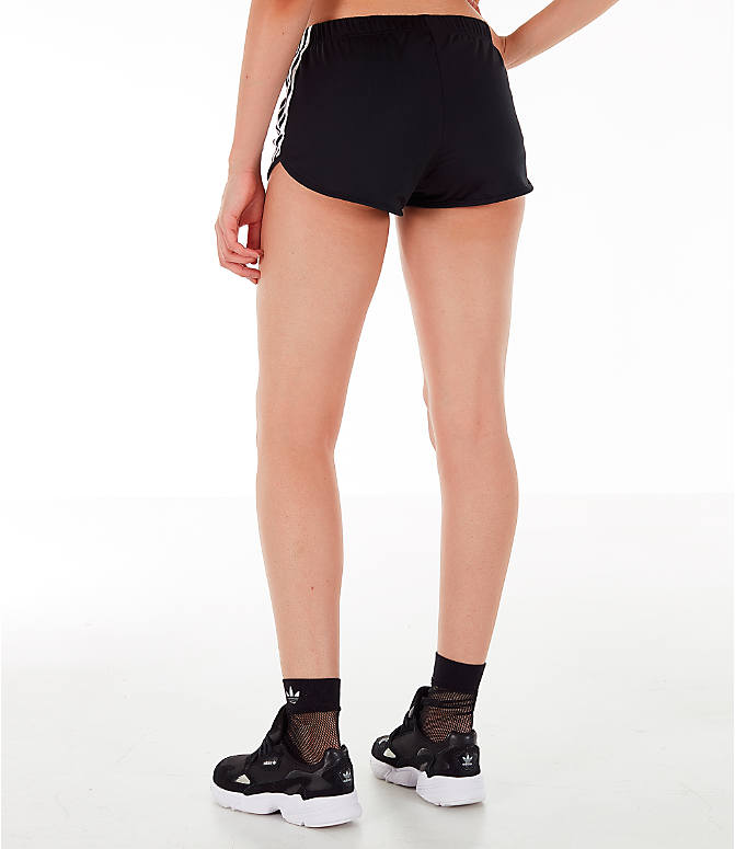 Back Left view of Women's adidas Originals 3-Stripes Shorts in Black/White