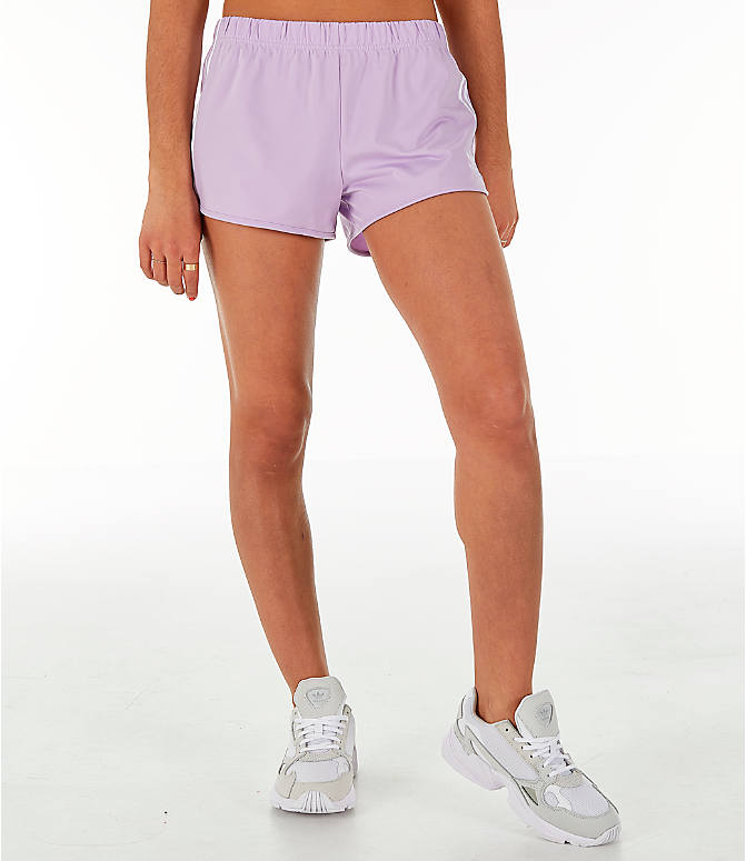 f8463861e855 Front Three Quarter view of Women's adidas Originals 3-Stripes Shorts in Purple  Glow