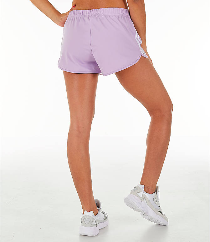 3c9496bf1303 Back Right view of Women's adidas Originals 3-Stripes Shorts in Purple Glow