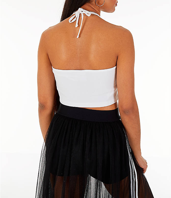 Back Right view of Women's adidas Originals Trefoil Crop Halter Tank Top in White/Black