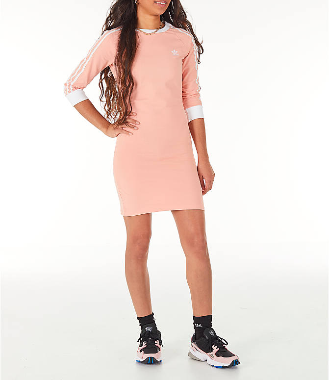 Front view of Women's adidas Originals 3-Stripes Dress in Dust Pink