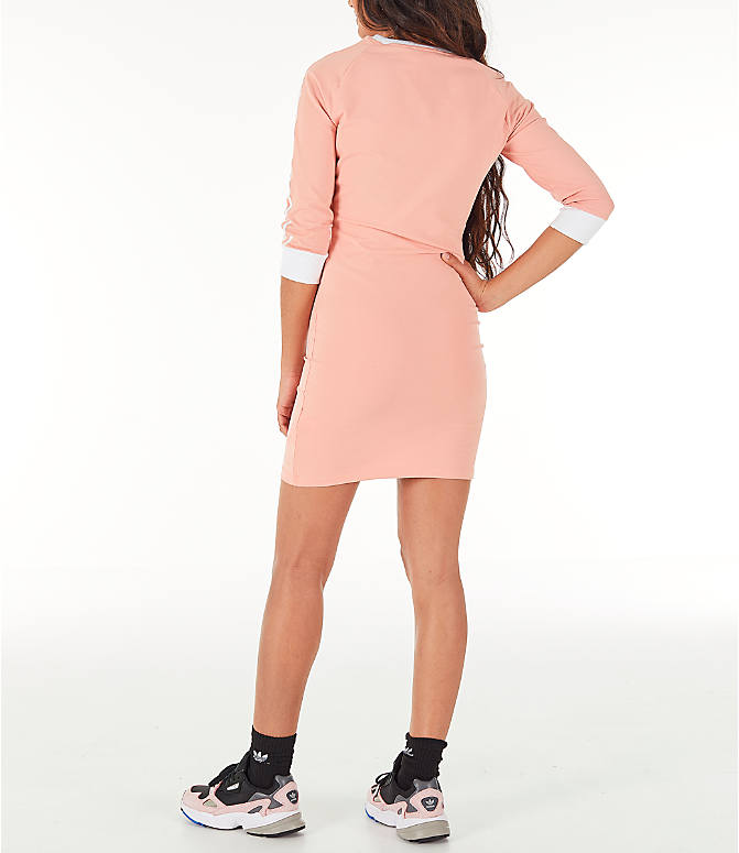 Back Left view of Women's adidas Originals 3-Stripes Dress in Dust Pink
