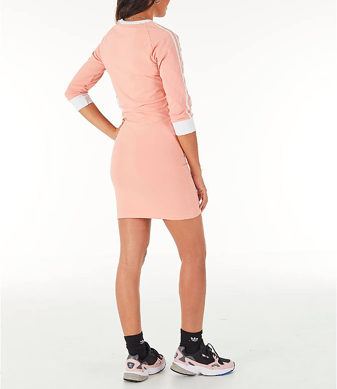 Back Right view of Women's adidas Originals 3-Stripes Dress in Dust Pink