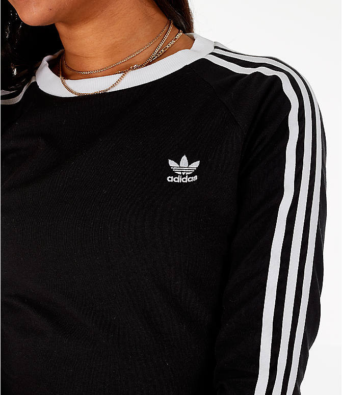 Detail 2 view of Women's adidas Originals 3/4 Sleeve 3-Stripes Dress in Black