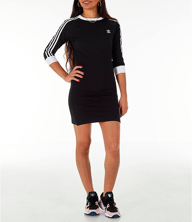 Front view of Women's adidas Originals 3-Stripes Dress in Black