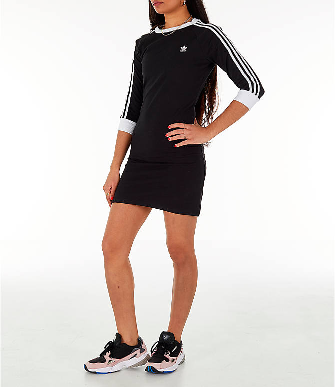 Front Three Quarter view of Women's adidas Originals 3/4 Sleeve 3-Stripes Dress in Black