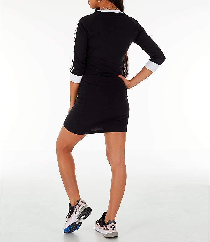 Back Left view of Women's adidas Originals 3-Stripes Dress in Black