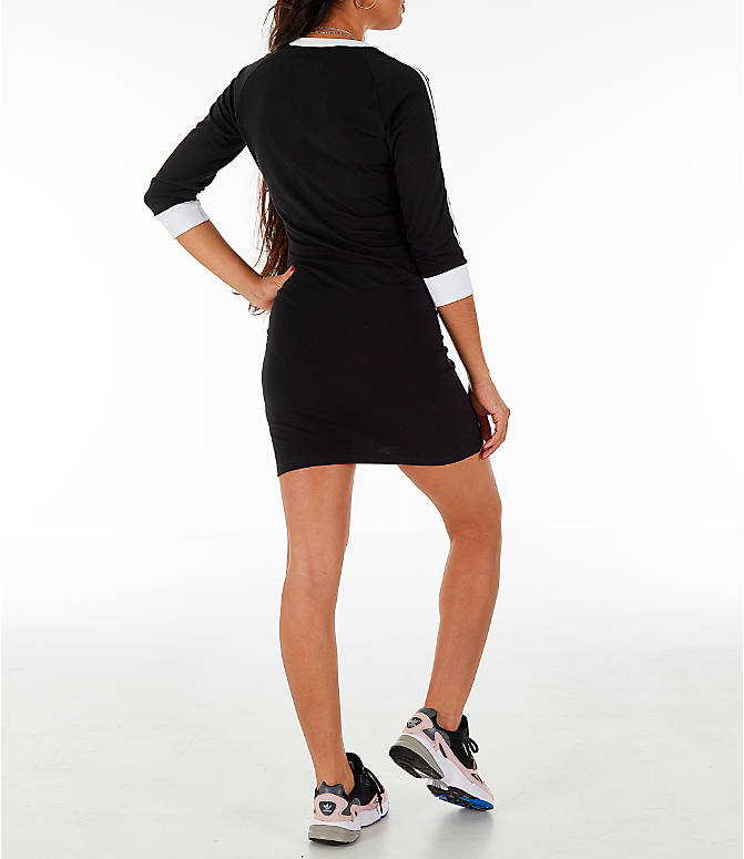 Back Right view of Women's adidas Originals 3-Stripes Dress in Black