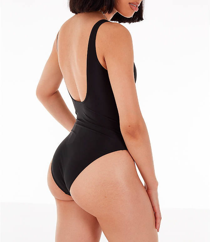 Back Right view of Women's adidas Originals Trefoil Swimsuit in Black/White