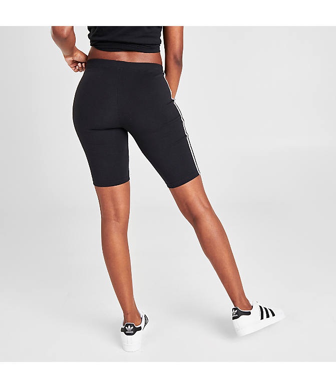 Back Right view of Women's adidas Originals Bike Shorts in Black/White