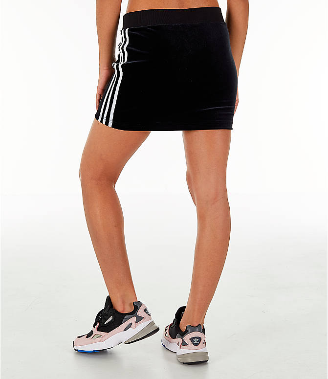 Back Left view of Women's adidas Originals Velour 3-Stripes Skirt in Black/White